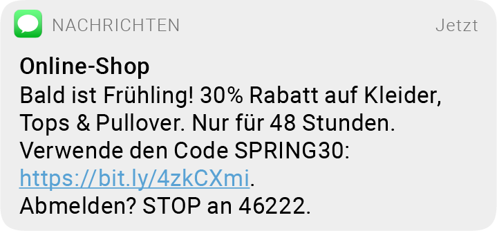 sms messaging onlineshop